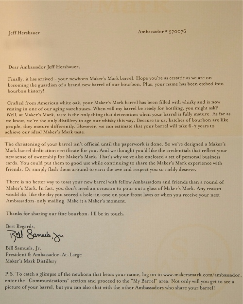 """Letter from Maker's Mark about """"my"""" barrel"""