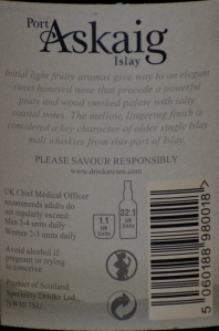 Port Askaig 17 Back Label