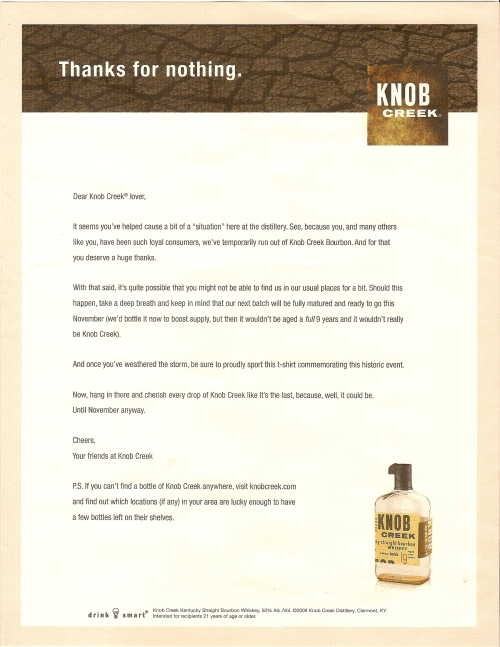"Knob Creek ""Thanks for nothing"" letter"