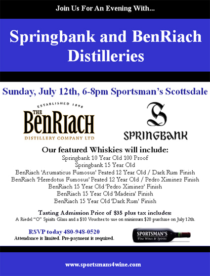Springbank & BenRiach tasting July 12, 2009