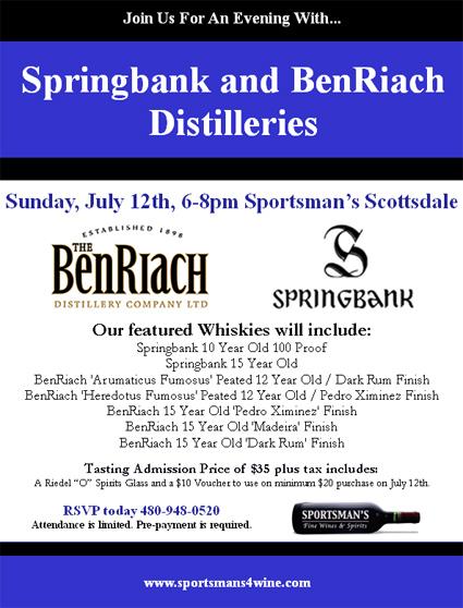 Springbank & BenRiach tasting July 12, 2009