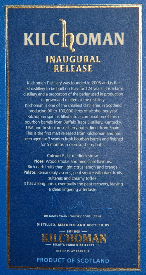 Back of Kilchoman box