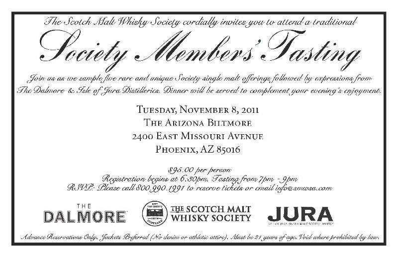 SMWSA Tasting and Dinner coming to Phoenix Nov 8 Scotch